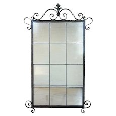 French Fer Forge/Wrought Iron Leaded Glass Mirror