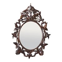 German Black Forest Walnut Oval Mirror Frame