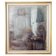 BERTHA DORPH Oil on Canvas Painting, Interior Scene