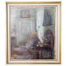 BERTHA DORPH Oil on Canvas Painting, Interior Scene
