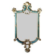 Large French Rococo Revival Gilt and Green Painted Pine Wall Mirror