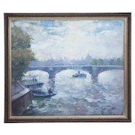 ERIK MOGENS VANTORE Oil on Canvas Painting of the River Seine