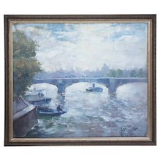 ERIK MOGENS VANTORE Oil on Canvas Painting of the River Seine