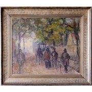 EMIEL/EMIL HANSEN Oil on Canvas Painting, Street Scene