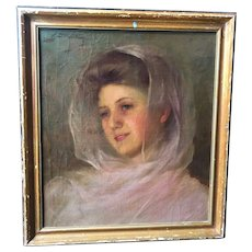 L.D. BROCKWAY Oil on Canvas Painting, Portrait of a Woman