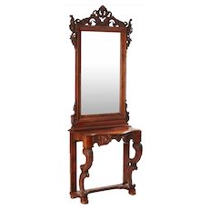 Danish Rococo Style Walnut Veneer Mirror and Console