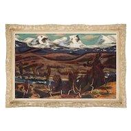RUNE HAGMAN Oil on Canvas Painting, Mountain Landscape