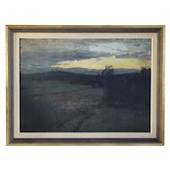 ALFRED BERGSTROM Oil on Canvas on Panel Painting, Impressionist Sunset Landscape