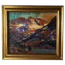 EDGAR ALWIN PAYNE Oil on Board Canvas Painting, Sierra Mountain Lake Landscape