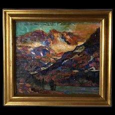 EDGAR ALWIN PAYNE Oil on Board Canvas Painting, Sierra Mountain Lake Landscape