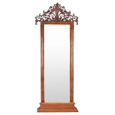 Large Swedish Flame Mahogany Veneer Pier or Floor Diamond Dust Mirror