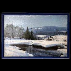 SIGVARD MARIUS HANSEN Oil on Canvas Painting, Winter Landscape