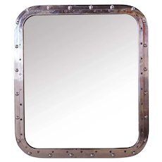 Small Vintage Aluminum Framed Ship's Window as a Mirror