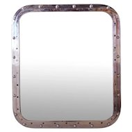 Small Vintage Aluminum Framed Ship's Window Wall Mirror