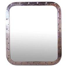 Small Vintage Aluminum Framed Ship's Window Wall Mirror