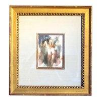 RAMON KELLEY Watercolor Painting, Standing Female Nude