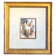 RAMON KELLEY Watercolor Painting, Standing Nude