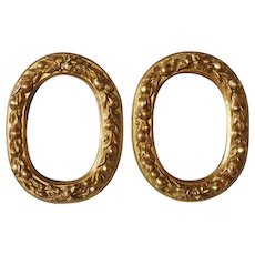 Antique Pair of 19th Century Italian Hand Carved Gilt Wood Oval Mirrors