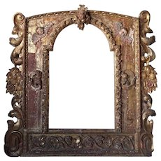 Italian Baroque Style Gilt Pine Architectural Frame as a Mirror