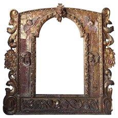 Italian Baroque Style Gilt Pine Architectural Frame as a Mirror
