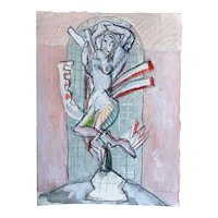 MARTHA DANIELS Watercolor, Pencil and Gouache Drawing, Nude Statue