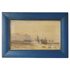RALPH REUBEN STUBBS Watercolor Painting, Sailing Ships Beached at Low Tide