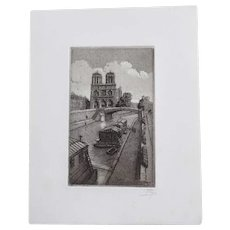 Vintage Signed Etching, Quai St. Michel eau Forte Paris