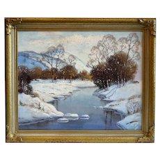 ERNEST FREDERICKS Oil on Canvas Painting, Mountains in Winter near Spokane, Washington