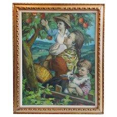 FANGANELLI Oil on Canvas Painting, Apple Tree