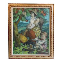 Josefina TANGANELLI PLANA Oil on Canvas Painting, Picking Apples