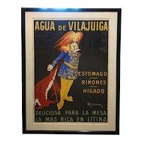 Vintage Framed LEONETTO CAPPIELLO Color Lithograph Aqua De Vilajuiga Advertising Poster