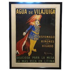 Vintage Framed LEONETTO CAPPIELLO Color Lithograph Aqua De Vilajuiga Advertising Poster