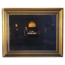 Danish School Oil on Board Painting, Interior Scene, Evening Tea