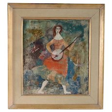 Vintage LUCIANO SPAZZALI Modernist Mixed Media Painting, Suonatrice