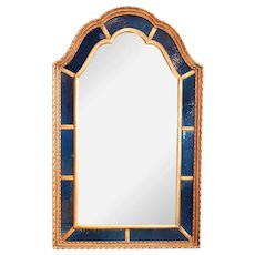 American Clausen Gilt and Blue Arched Mirror
