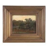 CHARLES HAROLD DAVIS Oil on Canvas Painting, Cottage Landscape
