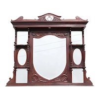 English Victorian Rosewood Overmantel Mirror