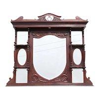 English Victorian Rosewood Overmantel Mirror