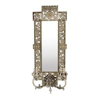 American Albert Patitz for Bradley & Hubbard Aesthetic Movement Brass Mirrored Two-Arm Wall Sconce