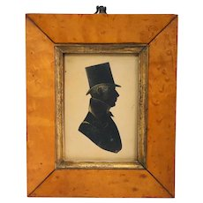 Pen and Ink on Paper Silhouette Portrait of a Gentleman with Birdseye Maple Frame