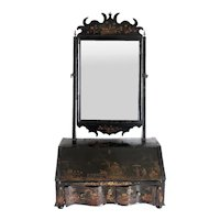 English Queen Anne Chinoiserie Black Japanned Dressing Table Mirror