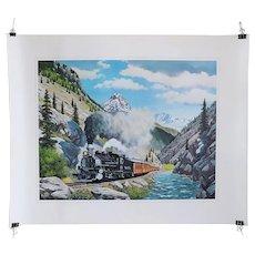 Vintage HOWARD L. FOGG Lithograph Print, Denver Rio Grande Railroad Steam Engine
