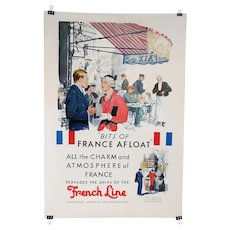 Vintage French ADOLPH TREIDLER Travel Advertising Poster, Ships of the French Line