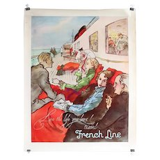 Vintage French RENE ROBERT BOUCHE Travel Poster, French Line