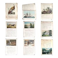 Nine Vintage American Travelers Insurance Currier & Ives Wall Calendars