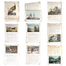 Nine Vintage American Travelers Insurance Currier & Ives Wall Calendars