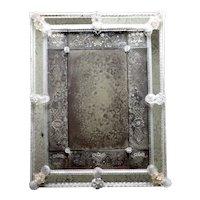 Italian Venetian Murano Etched and Blown Glass Rectangular Wall Mirror
