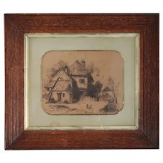 Small Signed English Engraving, Country Cottage