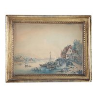 Small French/German Watercolor on Paper Painting, Village River Scene