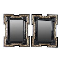 Pair of Dutch Baroque Style Gilt and Black Lacquered Beveled Wall Mirrors
